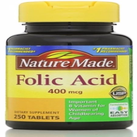 Nature Made Folic Acid 400 mcg Tablets 250 ea (Folic Acid To Get Pregnant With Twins)