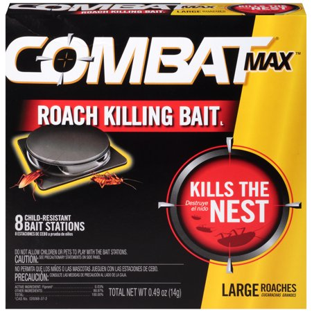 Bait Granules - Combat Max Large Roach Killing Bait Stations, Child-resistant, 8 Count