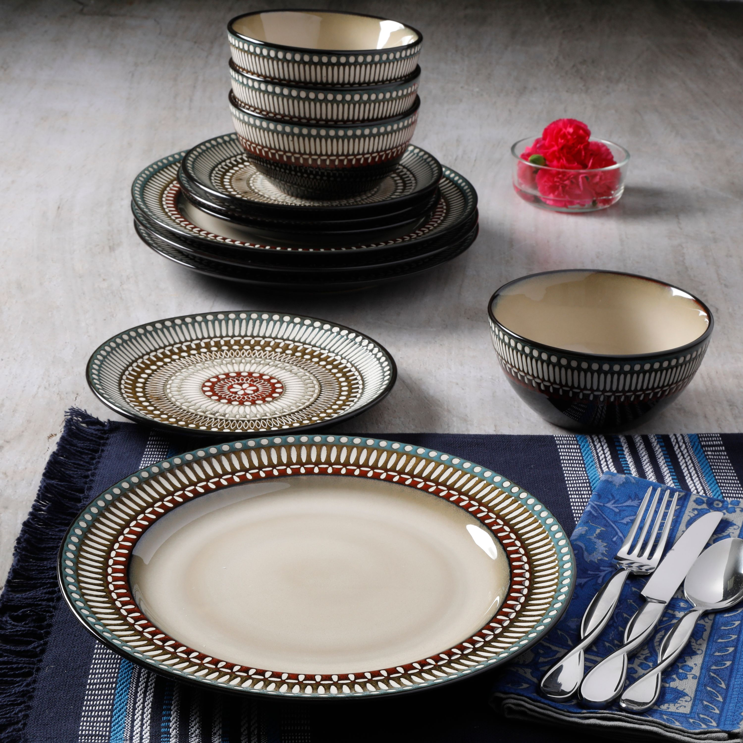 Better Homes & Gardens Augustine 12-Piece Reactive Glaze Dinnerware Set