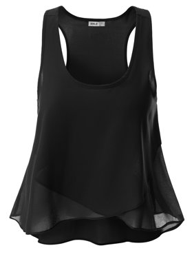 ee403930303 Product Image Doublju Womens Shirring Tank Top Style Blouse With Plus Size  BLACK 2XL