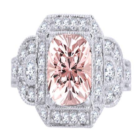 1.5 Ct Princess Cut (1.5 Ct Princess Cut Morganite & White Natural Diamond Vintage Halo Engagement Ring in 10k White Gold Ring Size -)
