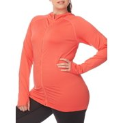 8392070a79c Under Control Women s Plus Size Active Back Keyhole Zip-Front Jacket with  Hood