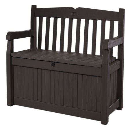 Keter Eden Outdoor Resin Storage Bench, All-Weather Plastic Seating and Storage, 70 Gal, Brown (Bench Garden Decor)