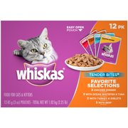 WHISKAS TENDER BITES Favorite Selections Variety Pack Wet Cat Food, (12) 3 oz. Pouches