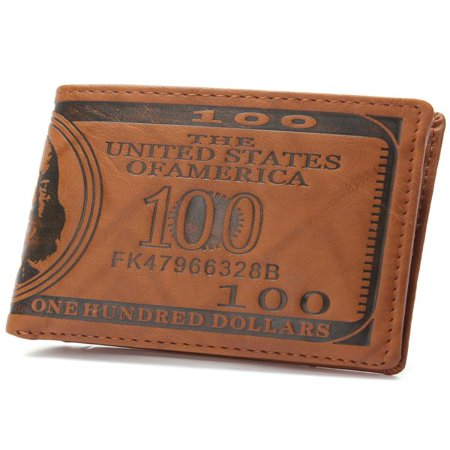 Creative Vintage PU Leather US Dollar Men Wallet Short Purses Male Cards Wallets Notecase For Men & Boys Valentine's Day Birthday (Vintage Mens Wallet)