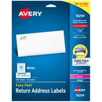 "Avery Easy Peel Address Labels, Sure Feed Technology, Permanent Adhesive, 2/3"" x 1-3/4"", 600 Labels (18294)"