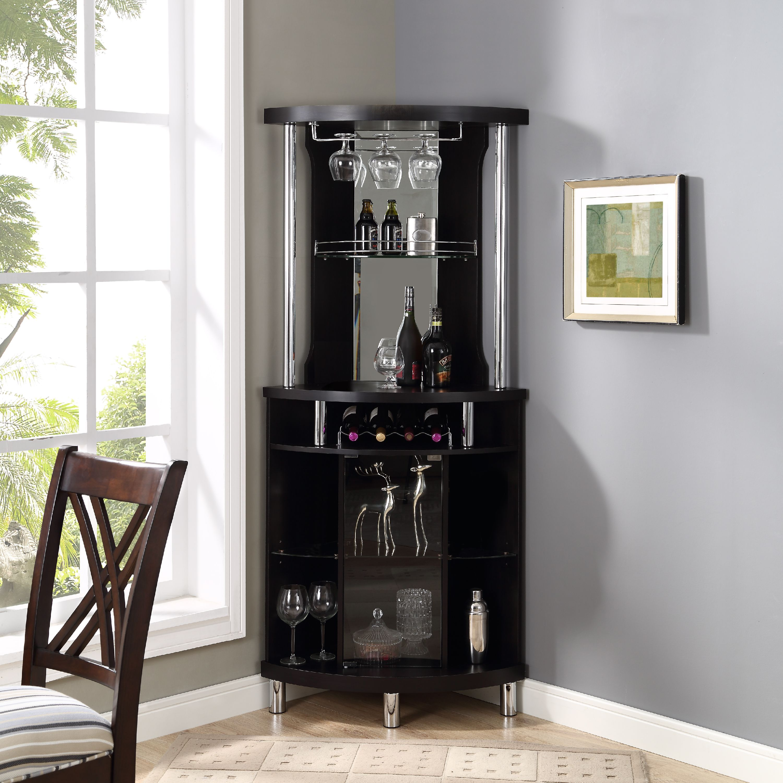 Home mini bar furniture Dining Room Home Source Corner Bar Unit Black Walmart Bar Furniture Bars amp Wine Racks Walmartcom