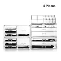 Unique Home Makeup Cosmetic Organizer Conceal/Lipstick/Eyeshadow/Brushes in One place Storage Drawers, Acrylic, Clear, XX-Large, 5 Piece Set