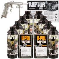 U-POL Raptor Black Truck Bed Liner Kit w/ Spray Gun, 8L, 2 Box Upol