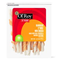 """Ol' Roy Rawhide 5"""" Twist with Chicken Chews for Dogs, 5.9 oz, 25 ct"""