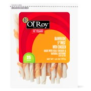 """Ol' Roy Rawhide 5"""" Twist with Chicken Chews for Dogs"""