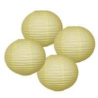 """Just Artifacts 12"""" Pineapple Yellow Paper Lanterns (Set of 4) - Decorative Round Paper Lanterns for Birthday Parties, Weddings, Baby Showers, and Life Celebrations!"""