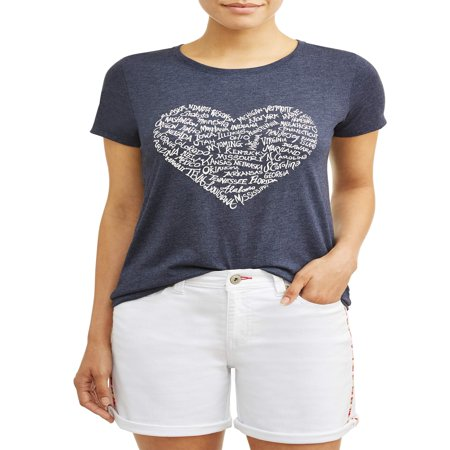 Burnout Crew Neck Tee - Heart States Crew Neck Tee Women's