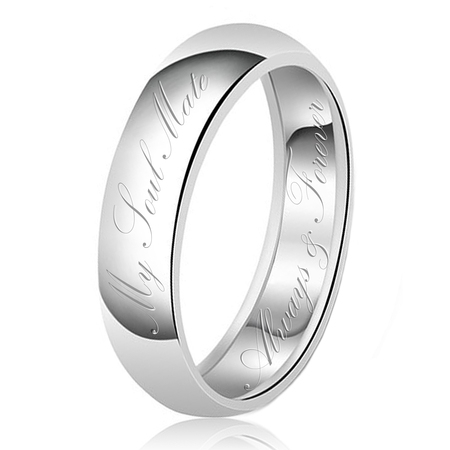 - 7mm My Soul Mate Always & Forever Engraved Classic Sterling Silver Plain Wedding Band Ring