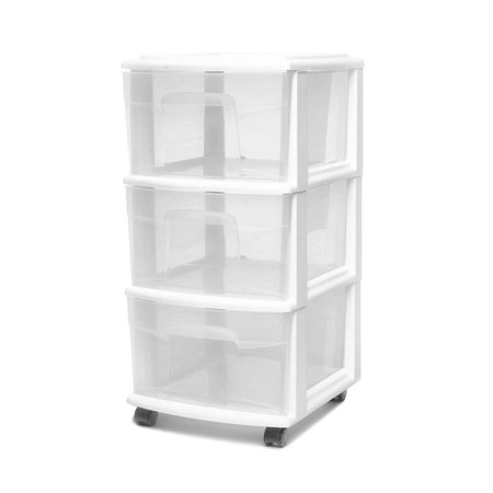Homz 3 Drawer Medium Cart with Casters, set of 2