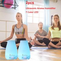 Ktaxon 2pcs 7 Color LED Cool Mist Ultrasonic Humidifier Essential Oil Diffuser w/Remote Control Timer,200ML