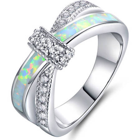 Fire Opal CZ18kt White Gold-Plated Crisscross Ring