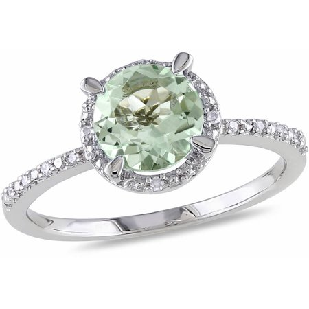 1-1/6 Carat T.G.W. Green Amethyst and Diamond Accent Sterling Silver Halo Ring Amethyst Aa Diamond Ring