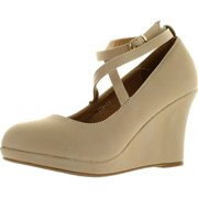 197b3f50383 Top Moda Eva-11 Womens Round Toe Platform Wedge Crossing Buckled Ankle Strap  Suede Shoes
