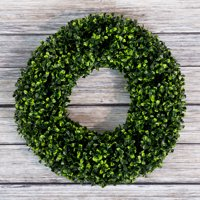 Boxwood Wreath, Artificial Wreath for the Front Door by Pure Garden, Home Decor, UV Resistant 16.5 Inches Round