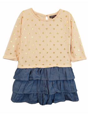 Long Sleeve French Terry & Denim Ruffle Dress (Baby Girls)