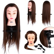 Dilwe Human Hair Training Practice Head Mannequin Hairdressing + Clamp Holder Hair Training Practice Head Mannequin