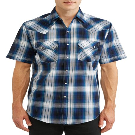 Plains Men's Short Sleeve Textured Plaid with Sawtooth Pockets Western Shirt, up to Size 4XL