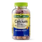 Spring Valley Calcium plus Vitamin D Adult Gummies, 500 mg, 100 Ct