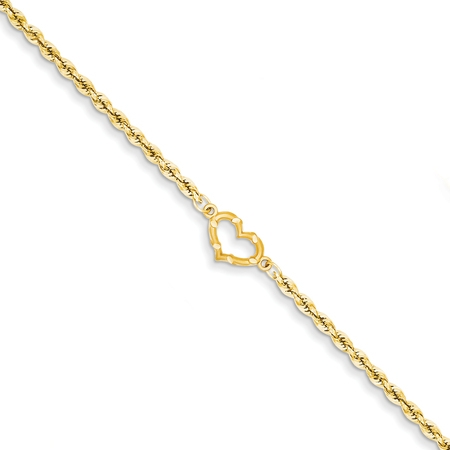 Yellow Bold Designer Bracelet - 14k Yellow Gold Heart Link Rope Anklet Ankle Beach Chain Bracelet Fine Jewelry For Women Gift Set