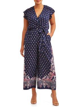 Women's Plus Size Flutter Sleeve Printed Jumpsuit