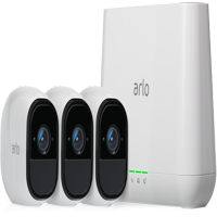 Arlo Pro 720p Wire-Free Security Camera System VMS4330 with Siren - 3 Rechargeable Wire-Free HD Cameras with Audio, Indoor/Outdoor, Night Vision, White