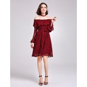 c663b4ca57e Alisa Pan Women s Fashion Off Shoulder Empire Waist Long Lace Bell Sleeve  Cocktail Party Summer Casual
