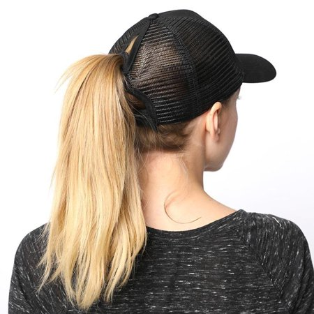 PONYTAIL BASEBALL HAT PONYCAP ADJUSTABLE TRUCKER MESSY HIGH BUN MESH CAP WOMENS PONY TAIL SLOT HAT - White Derby Hat