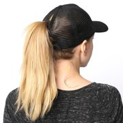 2bb92e206f51f PONYTAIL BASEBALL HAT BLACK PONYCAP ADJUSTABLE TRUCKER MESSY HIGH BUN MESH  CAP WOMENS PONY TAIL SLOT