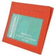 Premium High quality Orange Genuine Leather Slim Simple ID Credit Card Holder Thin Wallet