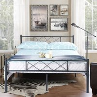 Easy Set-up Premium Metal Bed Frame Platform Box Spring with Headboard Footboard