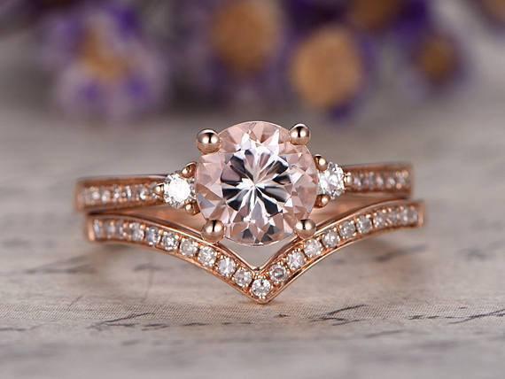 Perfect 1.50 Carat Three Stone Morganite and Diamond Wedding Ring Set in Rose