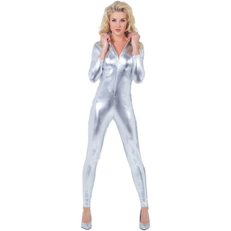 Stretch Silver Adult Halloween Jumpsuit](Silver Dollar City Halloween)