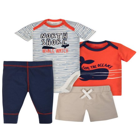 Bodysuit, Shirt, Short and Pant Mix N Match Outfit Set, 4pc (Baby - Match Every Outfit