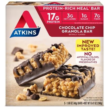 Atkins Chocolate Chip Granola Bar, 1.69oz, 5-pack (Meal Bar) 100 Bar Meal Replacement Food