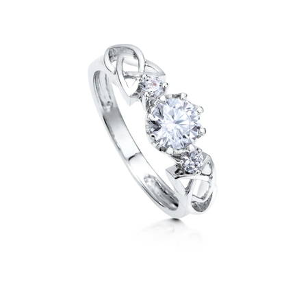 Rhodium Plated Sterling Silver Cubic Zirconia CZ 3-Stone Celtic Knot Promise Ring Size 4.5 ()