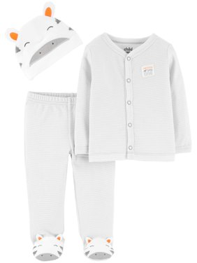 Long Sleeve Cardigan, Footed Pants & Cap, 3pc Outfit Set (Baby Boys or Baby Girls Unisex)