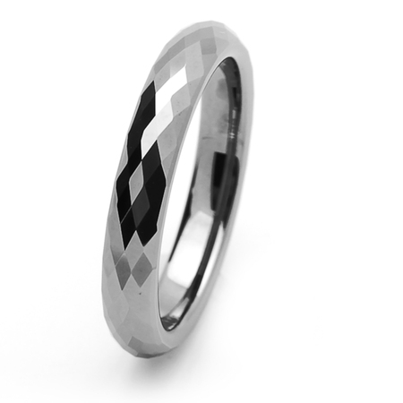 Women's Tungsten Carbide Wedding Band Ring 4mm Comfort Fit Domed Faceted Ring For Men & Women ()