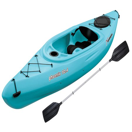 Sun Dolphin Phoenix 10.4 Sit-In Kayak Sea Blue, Paddle Included 2 Person Travel Kayak