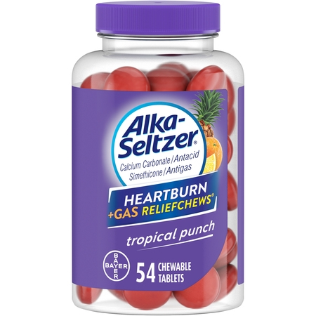 Alka-Seltzer Heartburn + Gas Relief Chews Tropical Punch, 54 Count (Heartburn Symptoms Relief)