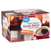 Great Value 100% Arabica House Blend Medium Ground Coffee, 0.42 oz, 12 count