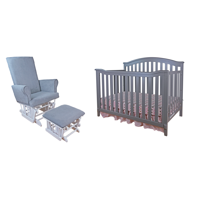 Athena Kali 4-in-1 crib with Modern Glider Chair and Ottoman Gray