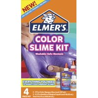 Elmer's Color Slime Kit, Color Glue, Assorted Colors, with Glue Slime Activator, 4 Count
