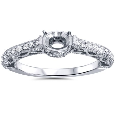 1/2ct Vintage Style Engagement Ring Setting 14K White Gold Solitaire Semi Mount