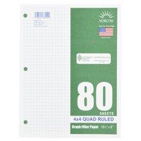 "(4 Pack) Norcom 80 Sheets 4x4 Graph Filler Paper, 10.5"" x 8"""